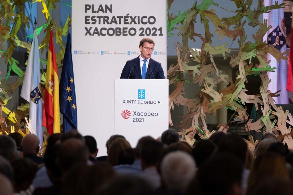 Alberto Núñez Feijóo, durante la presentación del Plan estratégico del Xacobeo 2021.