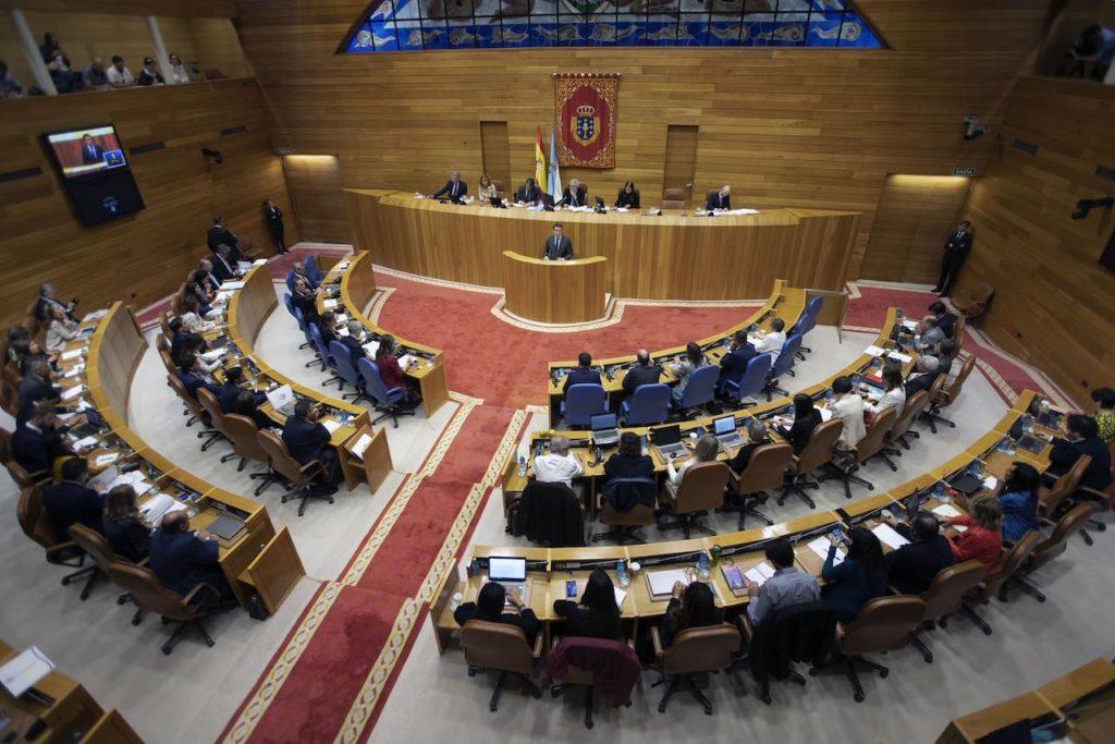 Vista panorámica del Parlamento de Galicia durante la sesión plenaria del Debate sobre el Estado de la Comunidad.
