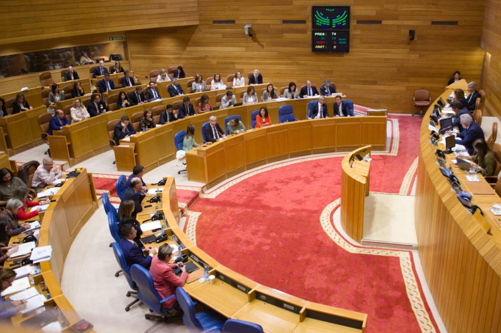 Vista del salón de plenos del Parlamento de Galicia durante las votaciones de las propuestas de resolución del Debate sobre el Estado de la Autonomía.