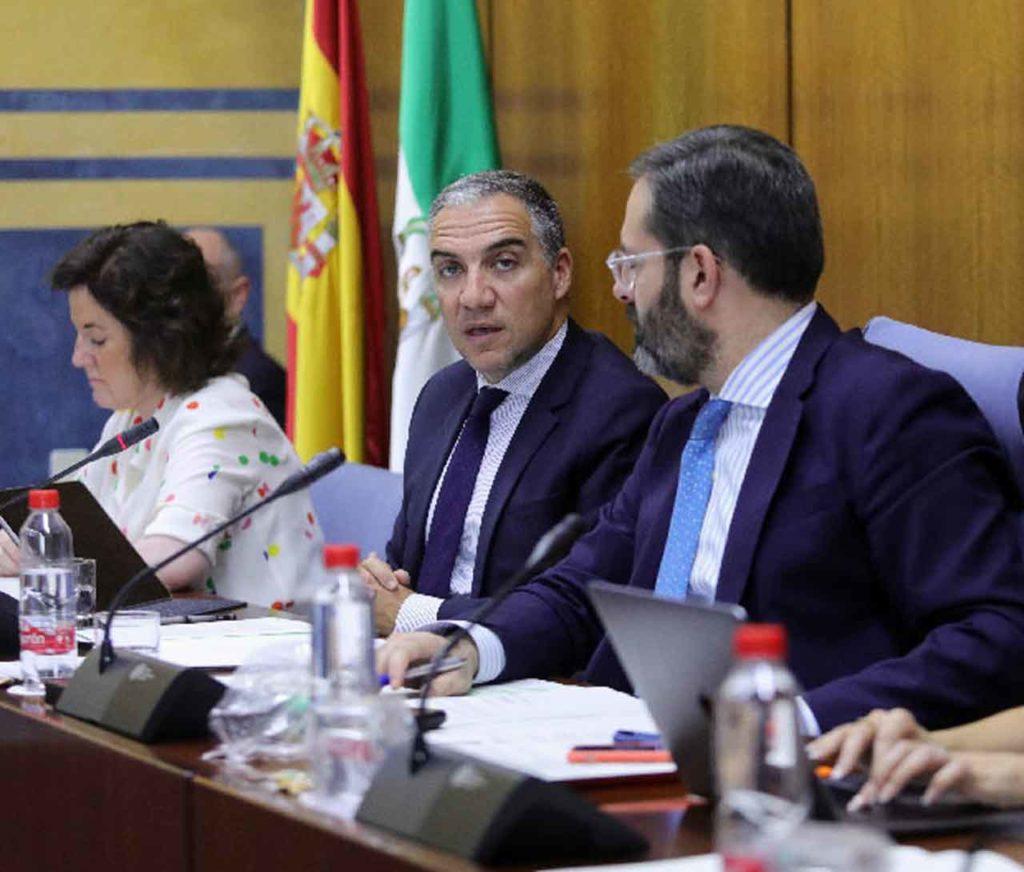 Comparecencia de Elías Bendodo en el Parlamento andaluz.