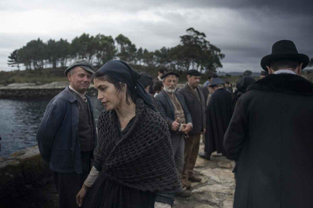 Nerea Barros, caracterizada como una de las heroínas, durante el rodaje del filme.