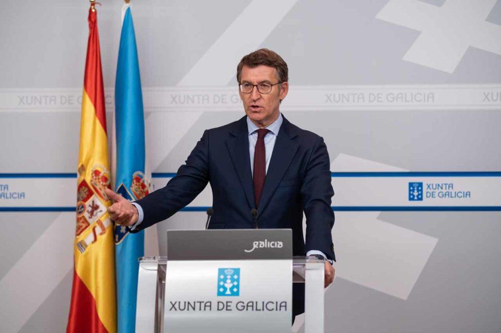 El titular del Gobierno gallego, Alberto Núñez Feijóo, durante la rueda de prensa posterior a la reunión semanal del Consello de la Xunta.