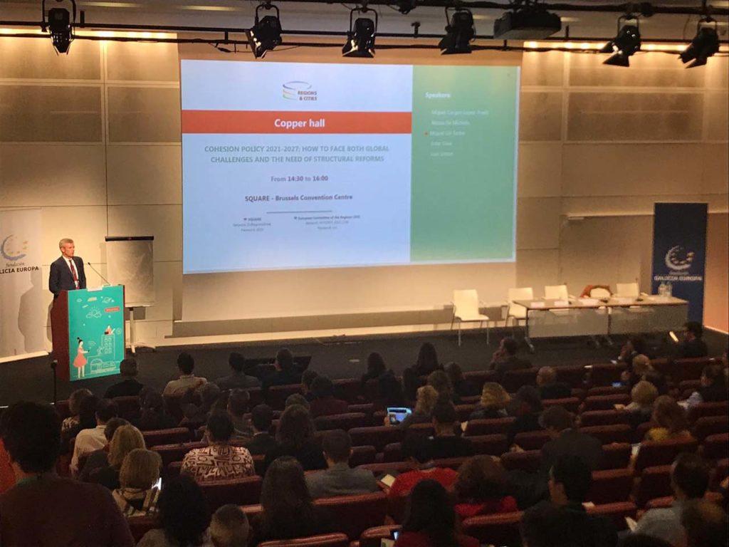 El vicepresidente de la Xunta, Alfonso Rueda, en la inauguración del seminario Política de Cohesión 2021-2027: cómo afrontar los desafíos globales y la necesidad de reformas estructurales, organizado por la Fundación Galicia Europa.