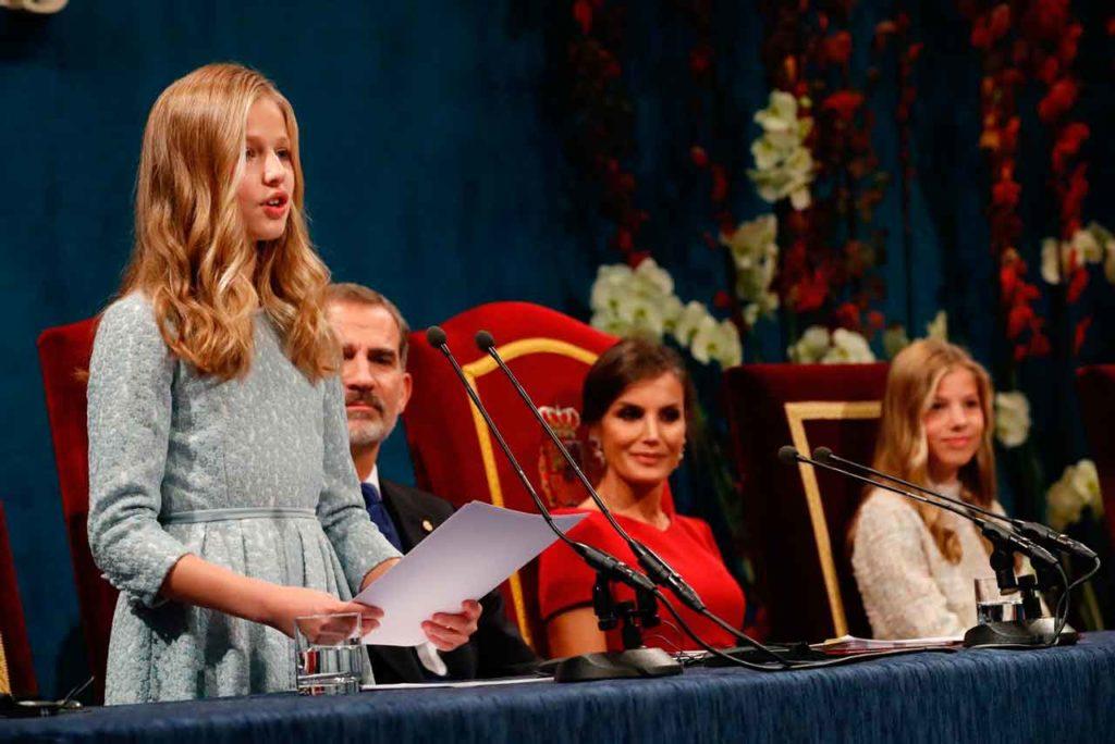 Leonor durante su discurso de los Premios Princesa de Asturias 2019.