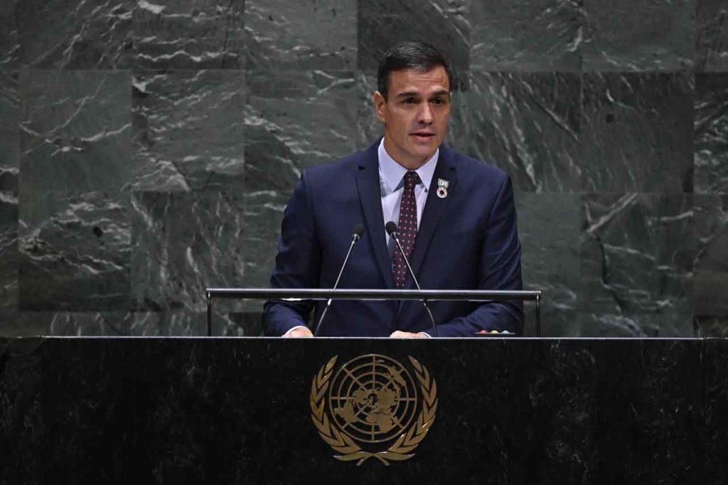 Pedro Sánchez durante su intervención en la Asamblea General de Naciones Unidas.