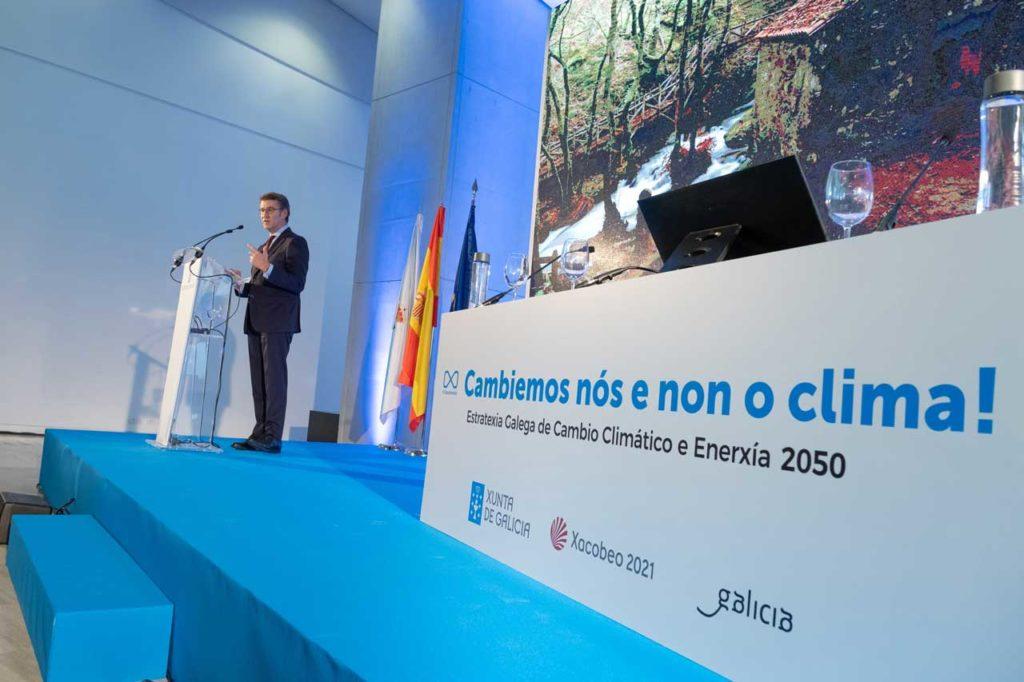 El presidente de la Xunta, Alberto Núñez Feijóo, clausuró el acto de presentación de la Estratexia Galega de Cambio Climático e Enerxía 2050.