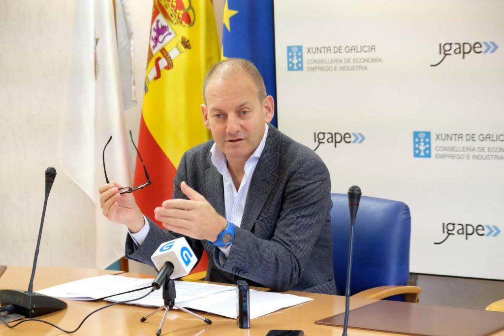 El director del Igape, Juan Cividanes, compareció para informar de los resultados de las exportaciones de las empresas gallegas en los primeros ocho meses del año.