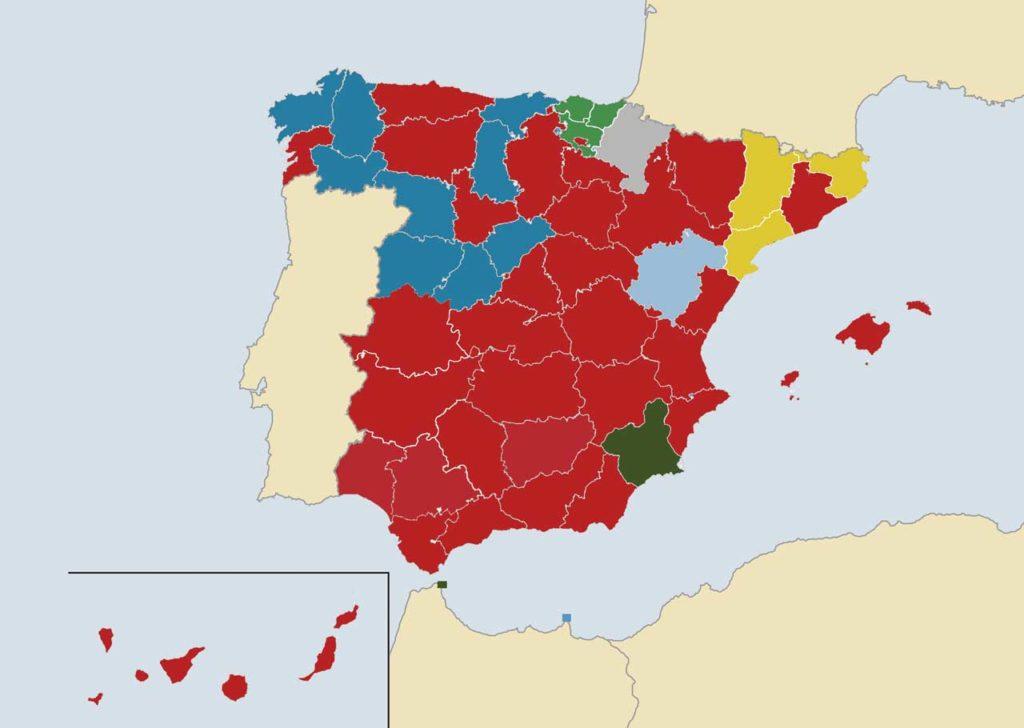En rojo, provincias donde ganó el PSOE, azul el PP, verde claro el PNV, amarillo ERC, gris Navarra Suma, celeste Teruel Existe y verde oscuro Vox.