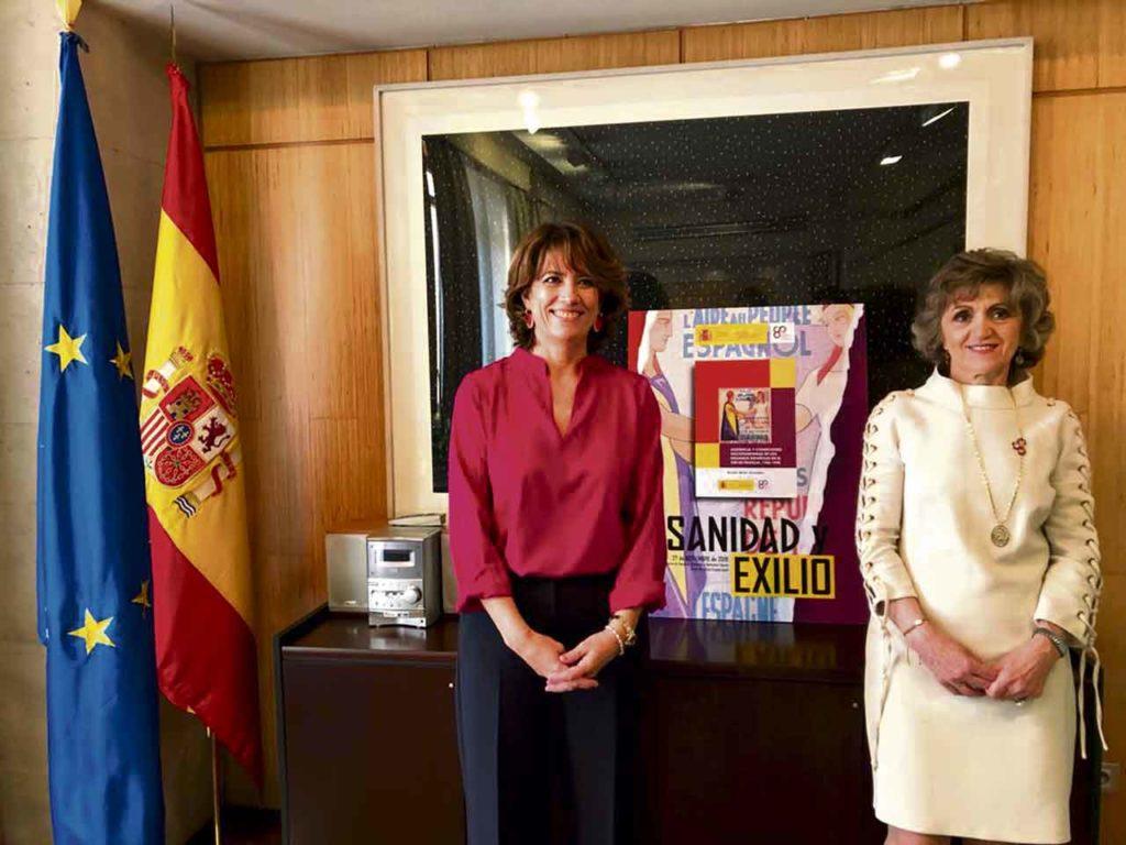 Dolores Delgado y María Luisa Carcedo durante el acto.