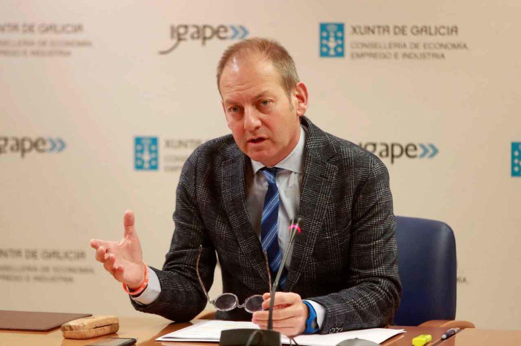El director del Igape, Juan Cividanes, informó de los resultados de las exportaciones de las empresas gallegas en los primeros nueve meses del año.