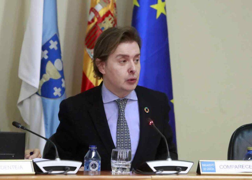 Jesús Gamallo durante su comparecencia en el Parlamento de Galicia el día 26 de diciembre.