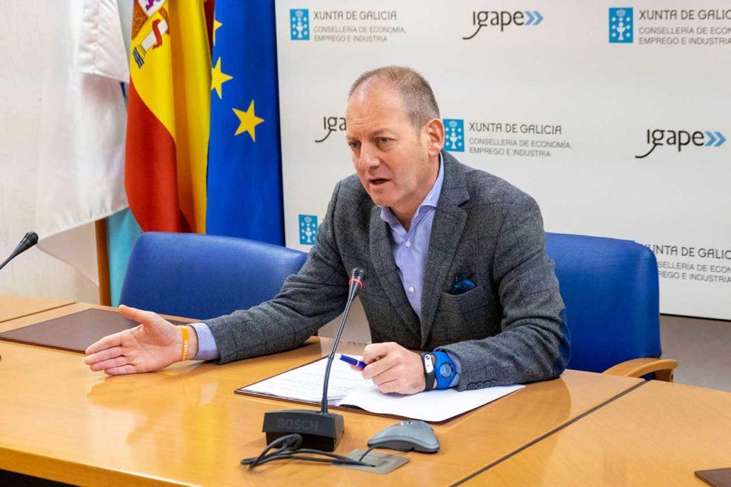 El director del Igape, Juan Cividanes, presentó los resultados del comercio exterior gallego de los once primeros meses de 2019.