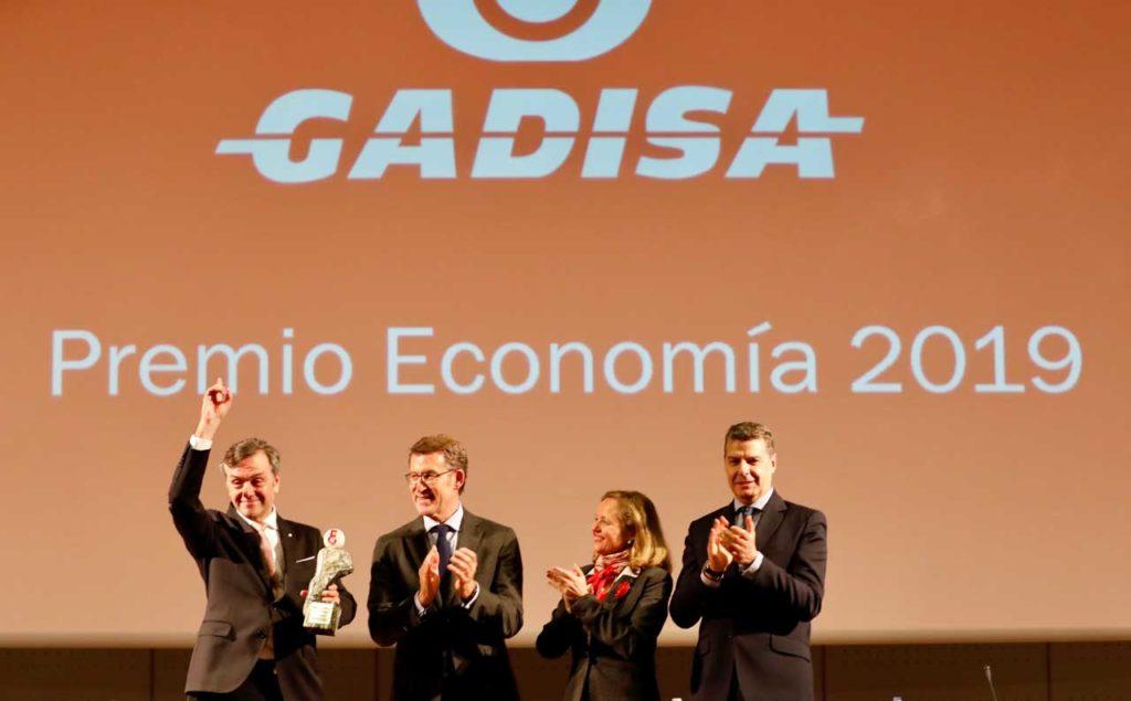 Núñez Feijóo y la ministra Nadia Calviño en la entrega del premio al Grupo Gadisa.
