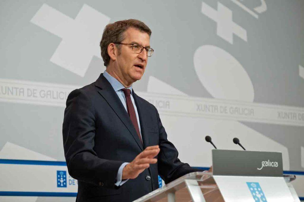 Alberto Núñez Feijóo en la rueda de prensa posterior a la reunión del Consello de la Xunta del pasado 27 de febrero.