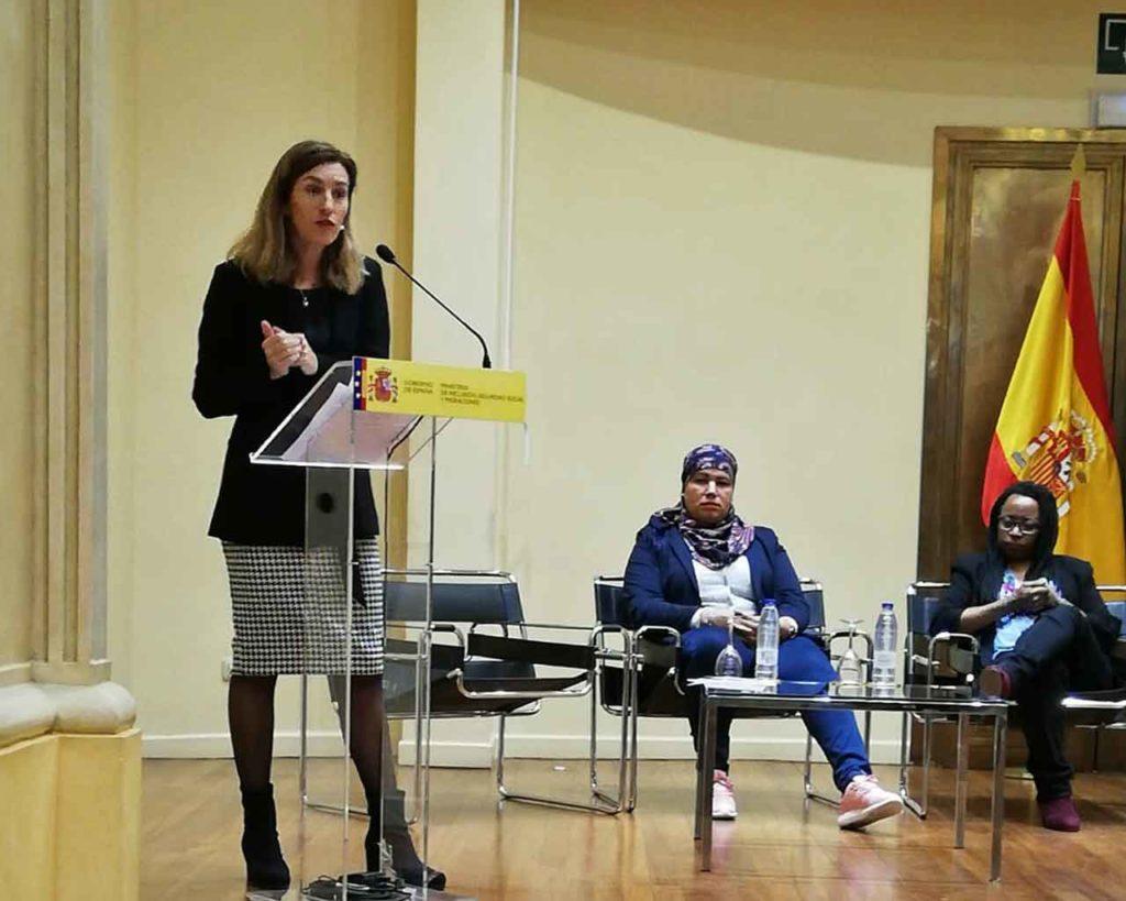 Irune Aguirrezabal en un reciente acto organizado por la Secretaría de Estado de Migraciones.