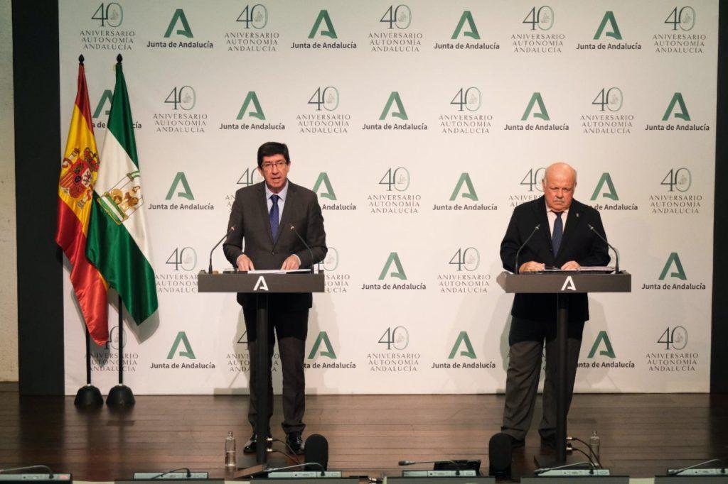 Juan Marín y Jesús Aguirre durante la rueda de prensa.