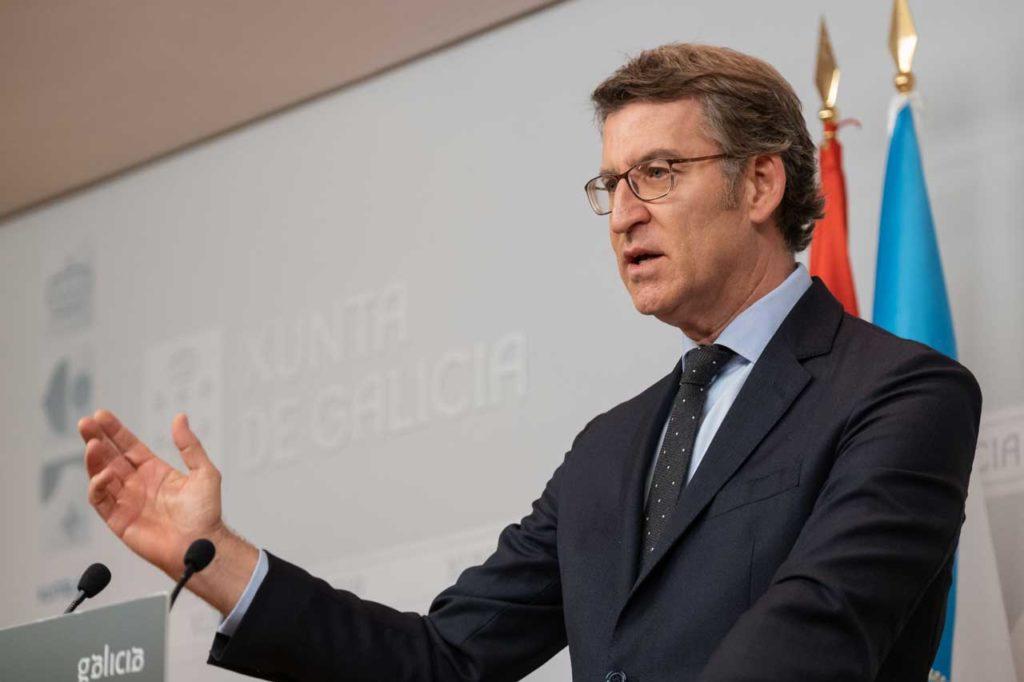 El presidente de la Xunta, Alberto Núñez Feijóo, en la rueda de prensa posterior al Consello.