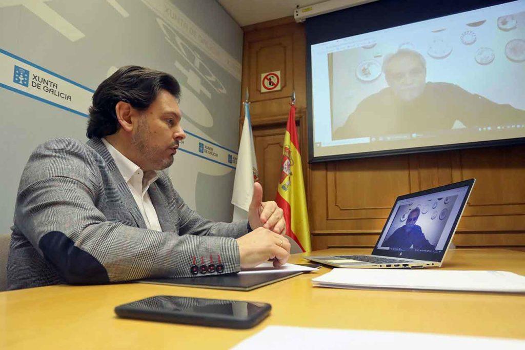 Rodríguez Miranda durante la videoconferencia con Manuel Fernández Vidal.