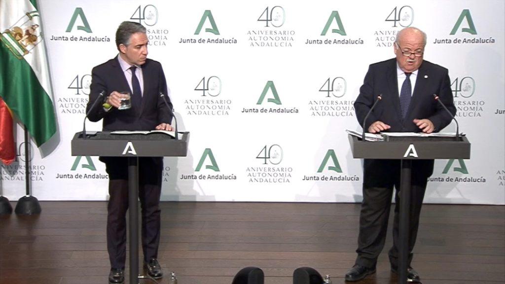 Elias Bendodo y Jesús Aguirre durante la rueda de prensa.