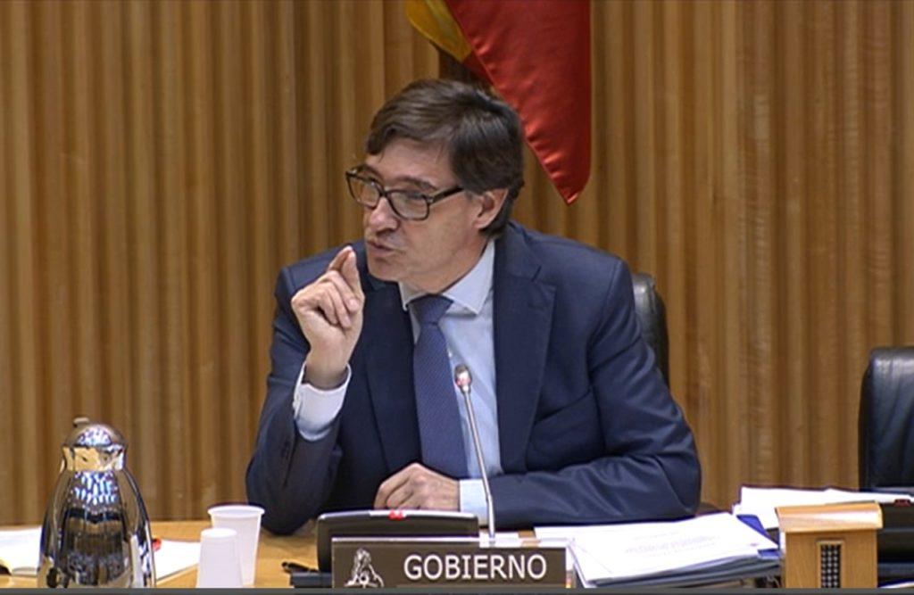 Salvador Illa durante su intervención en la Comisión de Sanidad del Congreso.