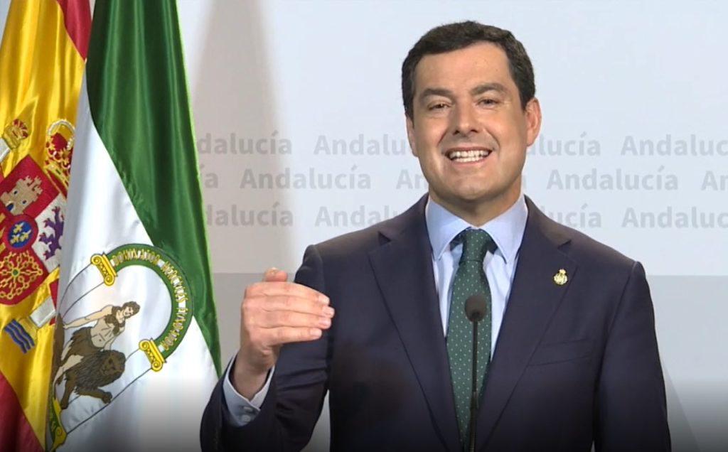 Juan Manuel Moreno durante su comparecencia tras la videoconferencia del domingo con Pedro Sánchez y los otros presidentes autonómicos.