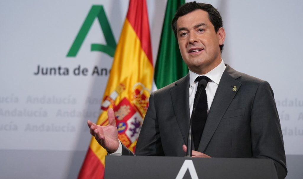 Juan Manuel Moreno Bonilla durante su comparecencia telemática para informar de la conferencia de presidentes autonómicos con Pedro Sánchez.