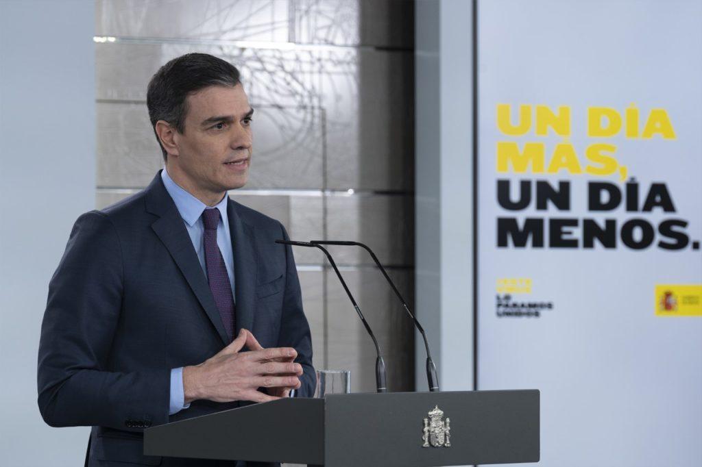 Pedro Sánchez durante su intervencion telemática del sábado en la que anunció la segunda prórroga del estado de alarma.