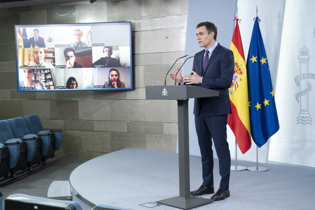 Pedro Sánchez durante su conferencia de prensa telemática del domingo.
