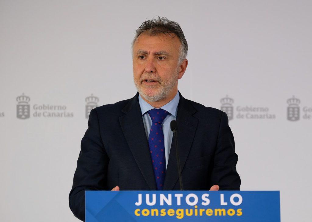 Ángel Víctor Torres, durante su rueda de prensa telemática después de la videoconferencia de presidentes autonómicos con Pedro Sánchez.