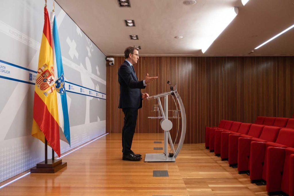 Rueda de prensa del Consello da Xunta donde Núñez Feijóo explicó el alcance de las medidas aprobadas.