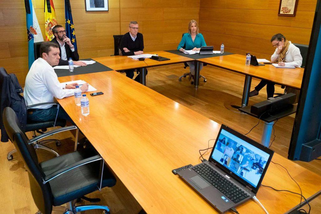 Un momento de la reunión del Centro de Coordinación Operativa (Cecop), presidida por el vicepresidente de la Xunta, Alfonso Rueda.