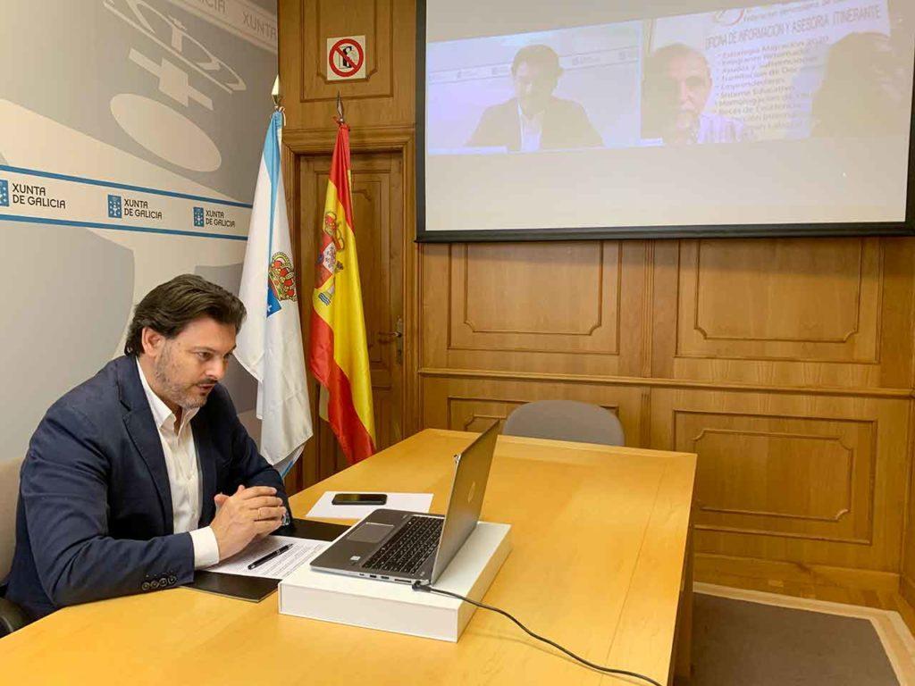 Rodríguez Miranda en la videoconferencia con el presidente de Fevega.