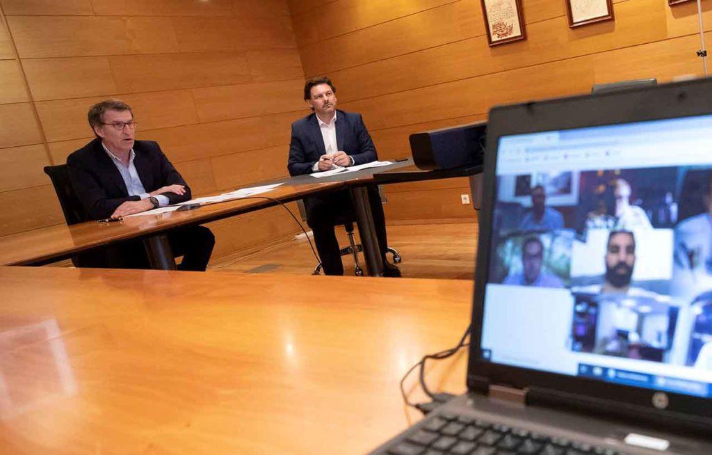 Alberto Núñez Feijóo y Antonio Rodríguez Miranda en un momento de la videoconferencia.