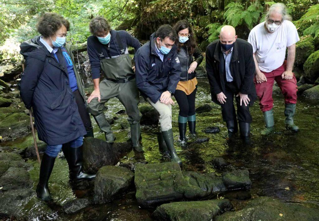 El conselleiro de Cultura e Turismo, Román Rodríguez, y el resto de asistentes observan la escultura en el lugar del hallazgo.