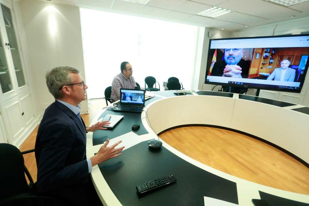 Imagen de la reunión por videoconferencia del vicepresidente de la Xunta, Alfonso Rueda, con el delegado del Gobierno en Galicia, Javier Losada.