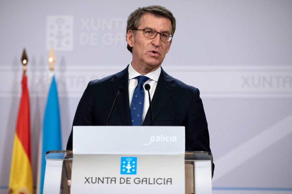 El presidente del Gobierno gallego, Alberto Núñez Feijóo, en su comparecencia tras el Consello da Xunta.