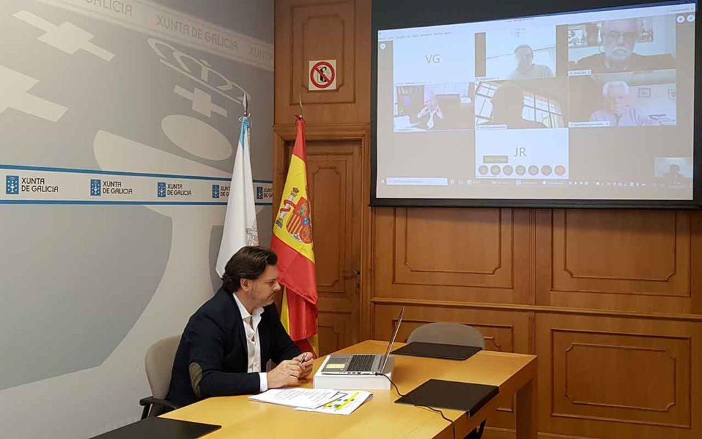 Rodríguez Miranda durante la videoconferencia con los gallegos de Uruguay.
