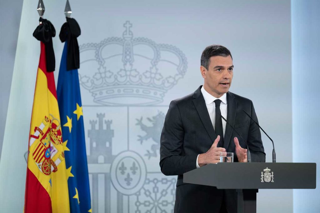 El presidente del Gobierno, Pedro Sánchez, durante su comparecencia en La Moncloa.
