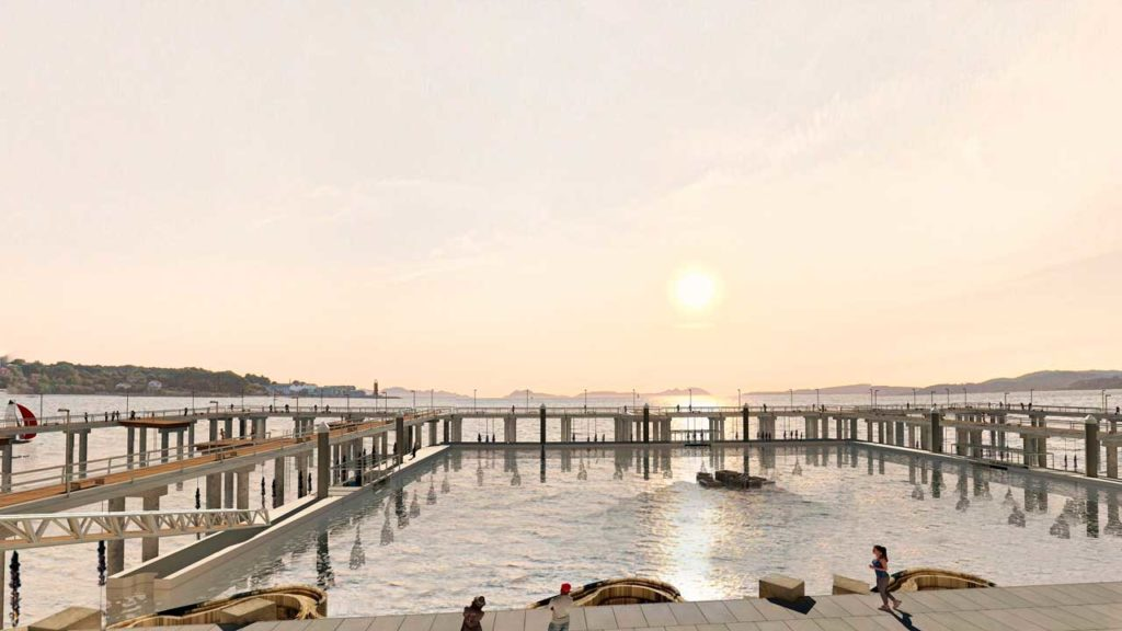 Recreación de una puesta de sol en los futuros 'Peiraos do Solpor' (Muelles del Atardecer, en gallego).
