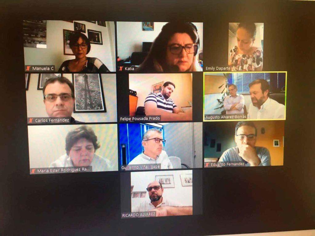 Un momento del encuentro por videoconferencia.