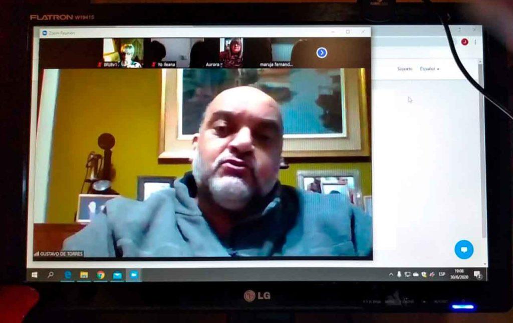 El presidente de Faara, Gustavo Daniel Torres durante la videocoferencia.