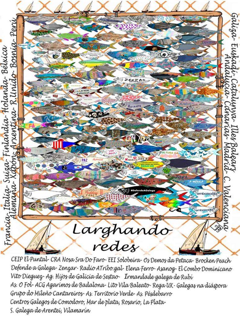 Cartel con las más de 150 sardinas enviadas por los participantes.