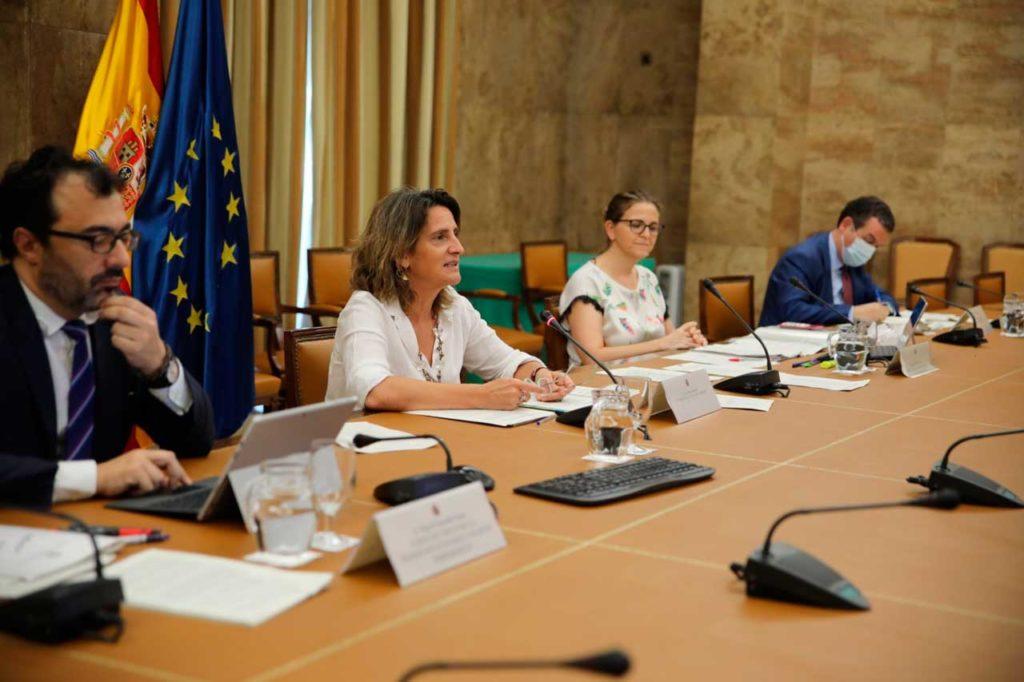 La ministra Teresa Ribera durante la reunión de la Conferencia Sectorial de Reto Demográfico.
