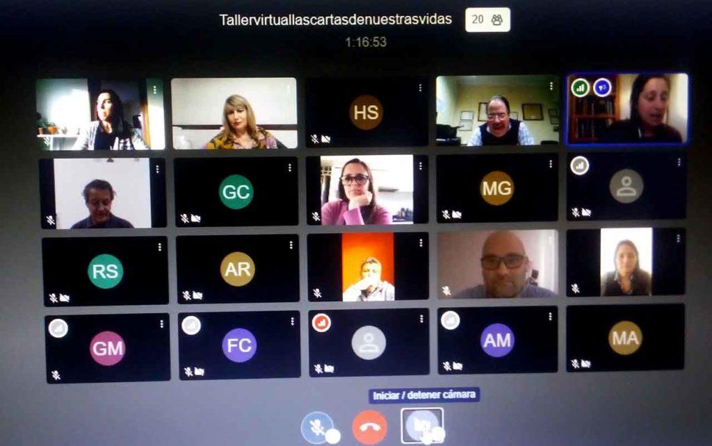 Un momento del taller virtual.