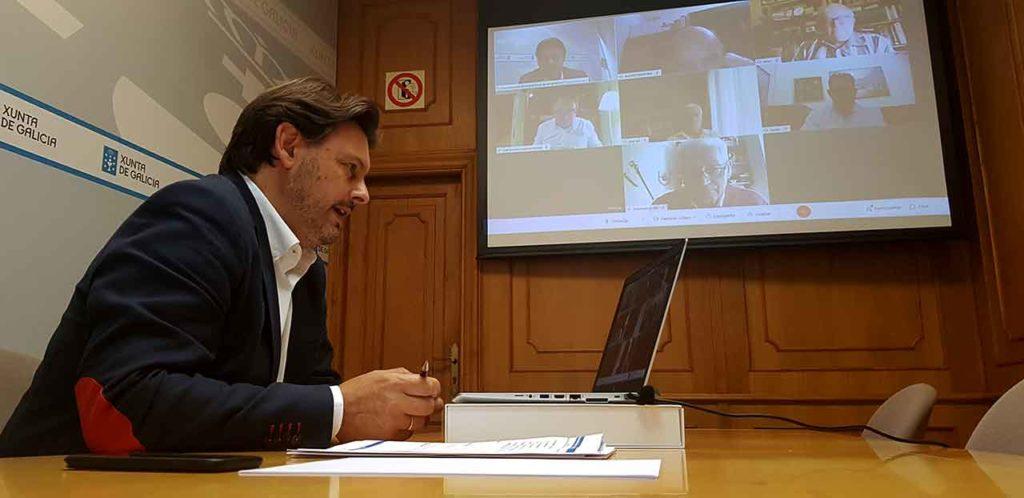 Antonio Rodríguez Miranda en un momento del encuentro telemático.