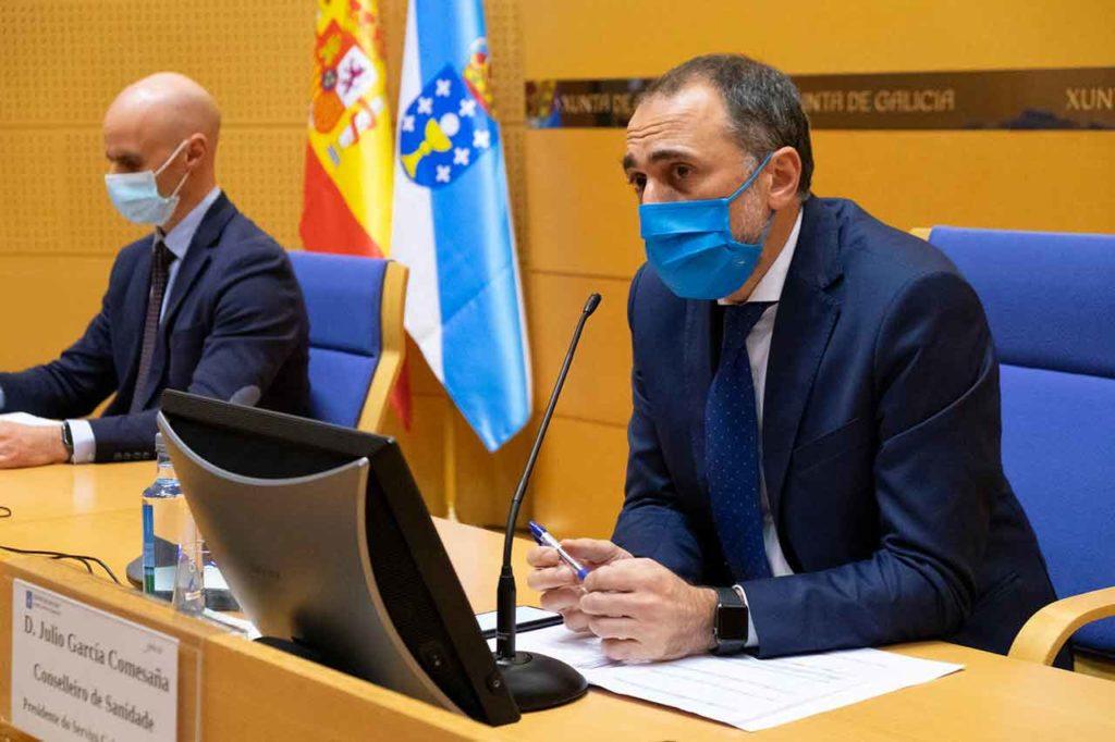 El conselleiro Julio García Comesaña, en rueda prensa tras el Comité de expertos del día 2.