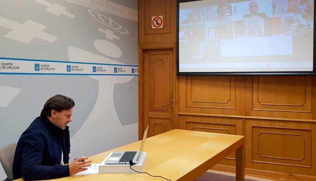 Antonio Rodríguez Miranda en un momento de la videoconferencia.