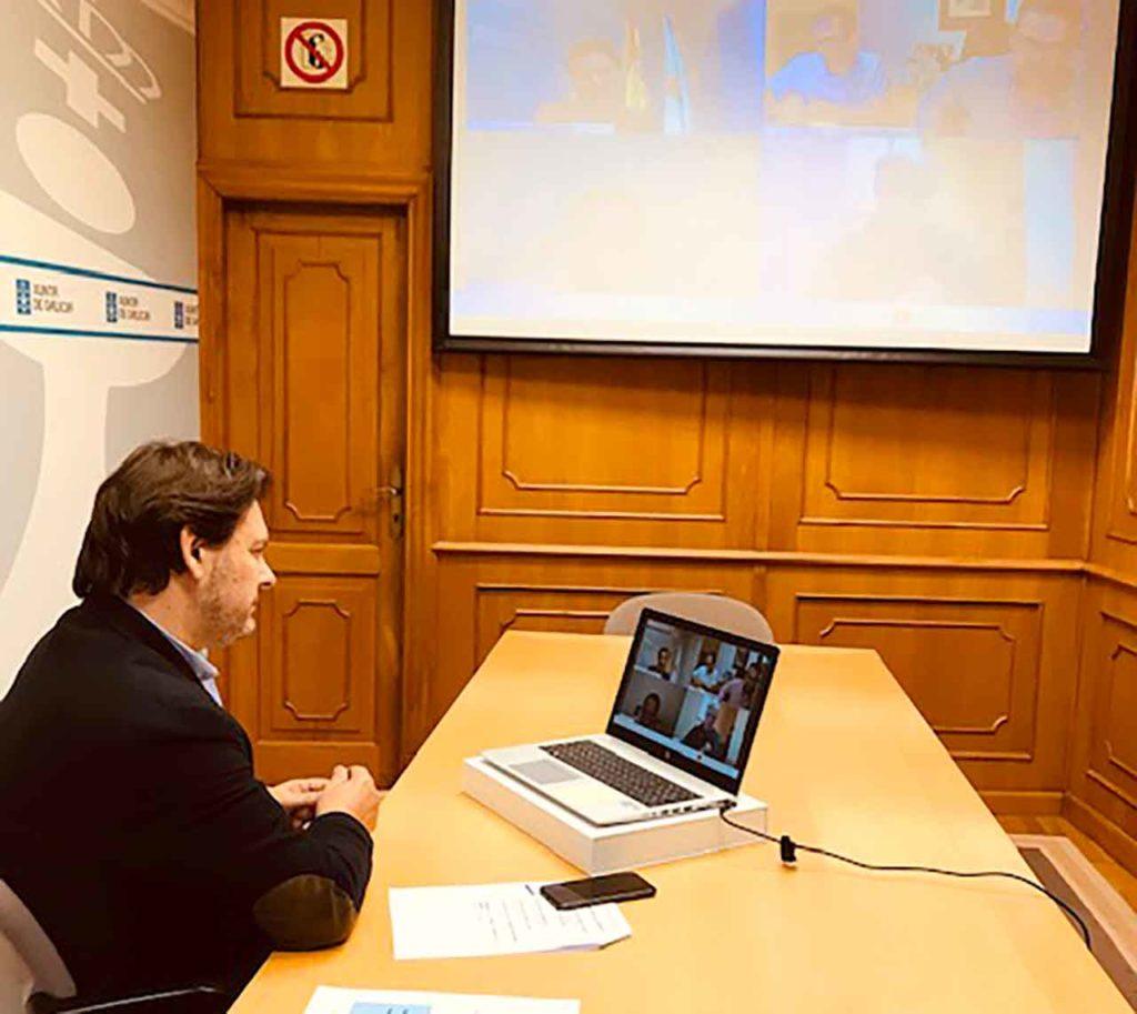 Antonio Rodríguez Miranda en la videoconferencia con los gallegos en Venezuela.