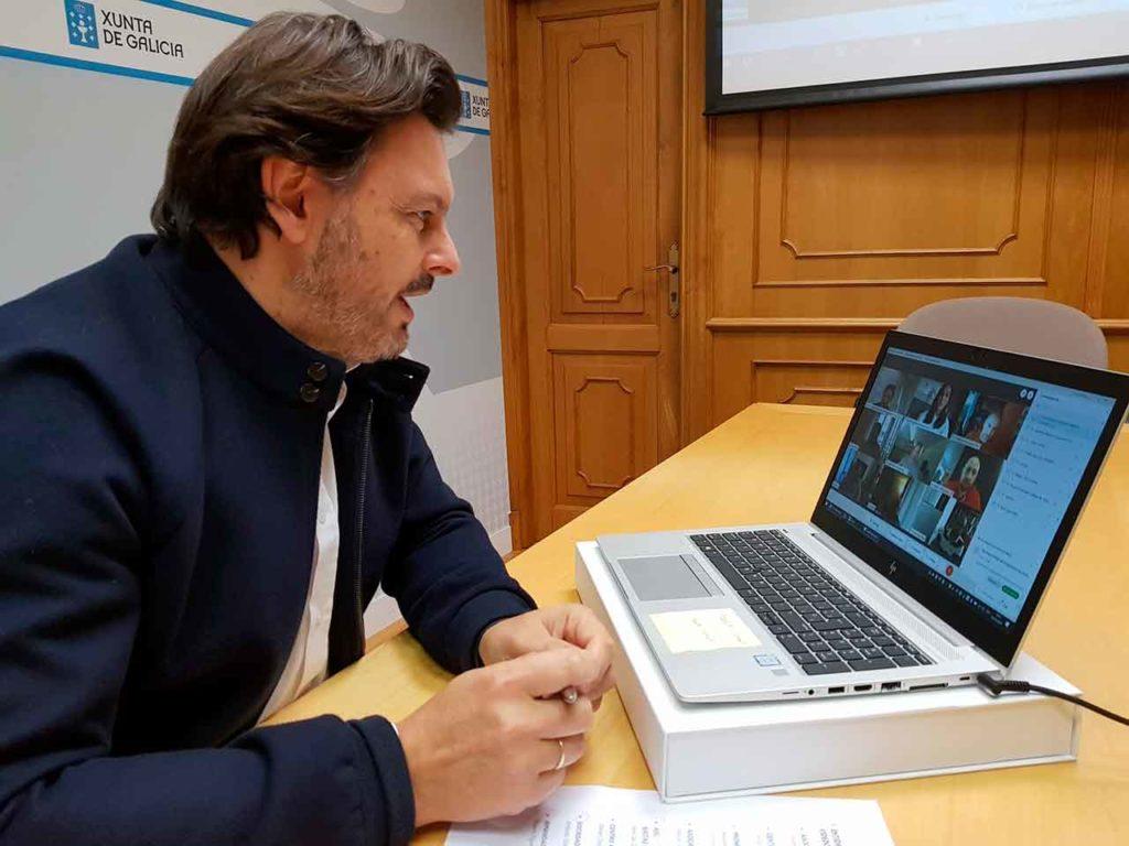 Antonio Rodríguez Miranda durante el encuentro telemático.