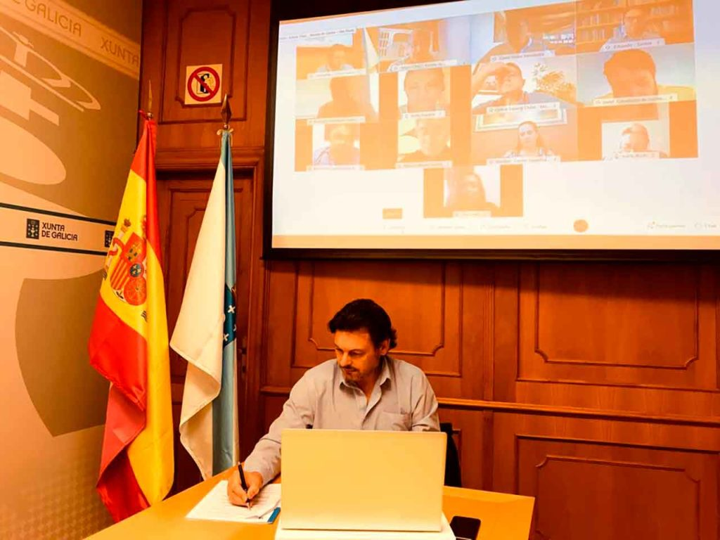 Antonio Rodríguez Miranda en un momento de la reunión telemática.